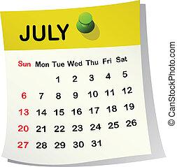 kalendář pro july.