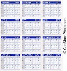 kalendář, vektor, 2013., ilustrace