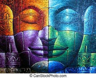 kambodžan, buddha, barevný, čelit