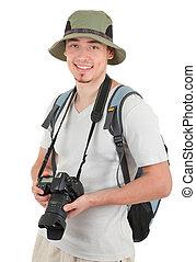 kamera, mládě, turista