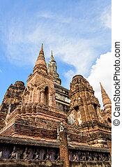 kaple, starobylý, sad, historický, sukhothai
