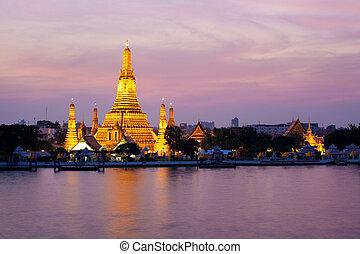 karafiát, bangkok, západ slunce, thajsko, arun, soumrak, wat