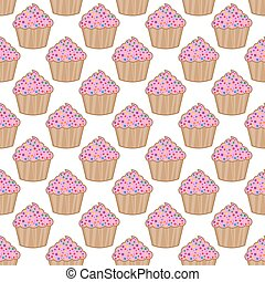 karafiát, model, vektor, grafické pozadí, cupcake