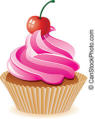 karafiát, třešeň, vektor, cupcake