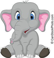 karikatura, šikovný, sedění, slon