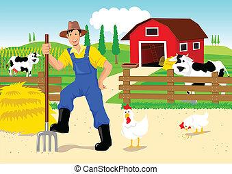 karikatura, farmář