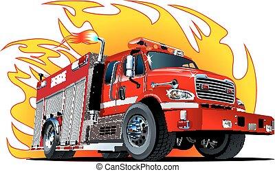 karikatura, podvozek, vektor, oheň