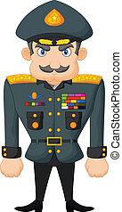 karikatura, válečný, generál
