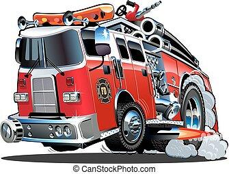 karikatura, vektor, firetruck