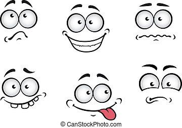 karikatura, vzrušení, postavit se obličejem k