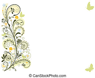 karta, pramen, květinový