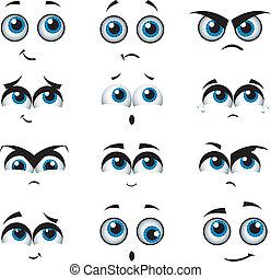 Kartoonové tváře s různými výrazy
