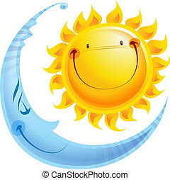 Kartoonové znaky slunce a den a noc pojetí