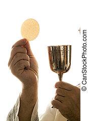 katolík, kněz, společenství, uctívat, během