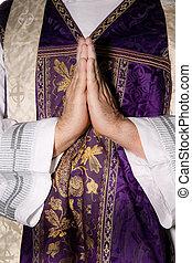 katolík, kněz, uctívat, prosba