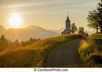 katolík, východ slunce, církev