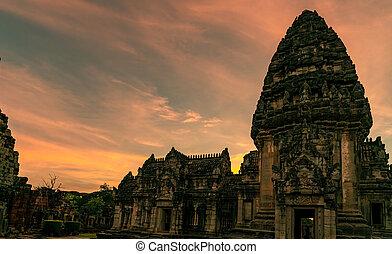khmer, chrám, sad, ratchasima, stavení., sky., západ slunce, architecture., dějinný, krajina, historický, destinations., ancient., thailand., starobylý, nakhon, pohybovat se, klasický, mezník, phimai, poloha