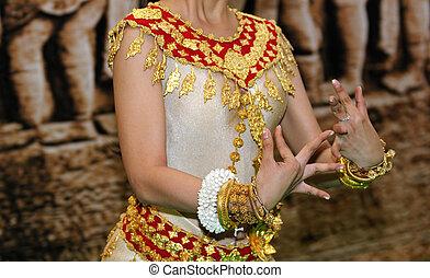 khmer, klasický tanec, kambodža, tanečník, enská dílo, hnutí