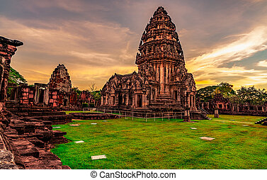 khmer, starobylý, ratchasima, sky., sad, architecture., krajina, nakhon, mezník, západ slunce, stavení., ancient., destinations., thailand., klasický, pohybovat se, poloha, phimai, dějinný, historický, chrám