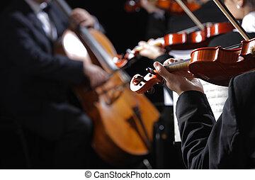 Klasická hudba. Violinisty na koncertě