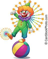 klaun, koule, přes, inflatable