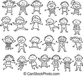 klikyháky, šťastný, karikatura, vybírání, kůzle