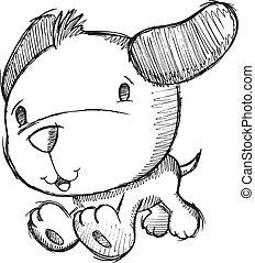 klikyháky, kreslení, skica, štěně, pes