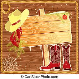 Klobouk s kovbojským kloboukem. Vector Christmas pro