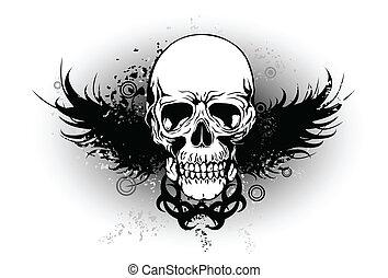 kmenový, křídlo, lebka