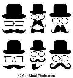 knír, dát, klobouky, brýle
