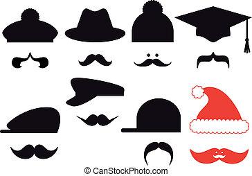 knír, dát, vektor, klobouky
