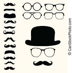 kníry, klobouk, za, brýle