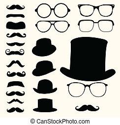 kníry, klobouky, brýle