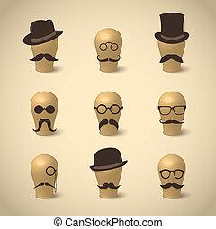 kníry, klobouky, dát, za, brýle
