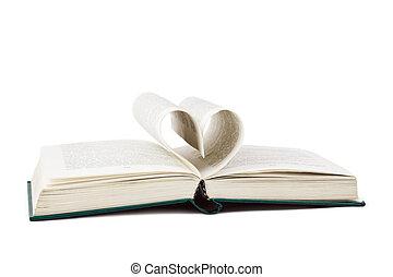 Kniha a srdce tvarované stránky