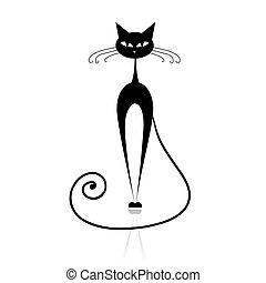 kočka, čerň, tvůj, design, silueta