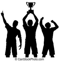 kořist, vítězi, vítězství, celebrovat, sportovní