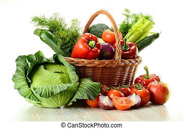 koš, proutěný, zelenina