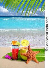kokosový ořech, hvězdice, koktejl, obrazný vytáhnout loď na břeh, červeň