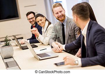 kolega, povolání, otřes, 2 hráč, během, setkání