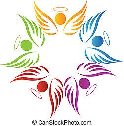 kolektivní práce, anděle, emblém