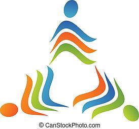 kolektivní práce, trojúhelník, emblém