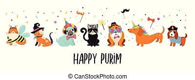 komický, illustration., masopust, barvitý, šikovný, úbor, živočichy, šlapat na paty, purim, vektor, devítiocasá kočka, prapor, pets., šťastný