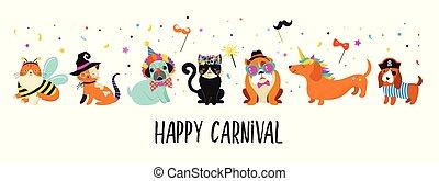 komický, masopust, barvitý, šikovný, úbor, živočichy, ilustrace, šlapat na paty, vektor, devítiocasá kočka, pets.