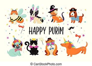 komický, masopust, barvitý, šikovný, úbor, ilustrace, živočichy, šlapat na paty, purim, vektor, devítiocasá kočka, prapor, pets., šťastný