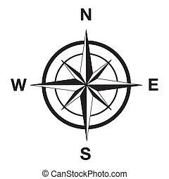 Kompasová silueta v černém