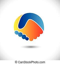 Konkrétní vektor Icon - podnikatelé nebo přátelé. Toto ilustrace může také znamenat nové partnerství, přátelství, spojení a důvěra, atd