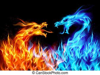 konzervativní, červeň, oheň, drak
