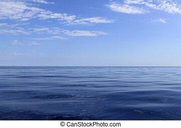 konzervativní, bezvadný, moře, oceán, bezvětrný, obzor