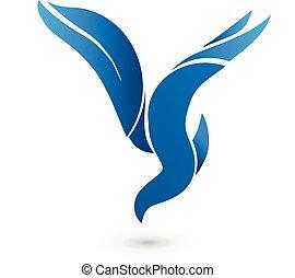 konzervativní, emblém, vektor, ptáček, ikona
